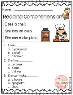 Free Reading Comprehension is suitable for Kindergarten students or beginning readers. Kindergarten Morning Work, Kindergarten Reading, Reading Activities, Teaching Reading, Free Reading, Vocabulary Activities, First Grade Worksheets, Free Kindergarten Worksheets, Reading Comprehension Worksheets