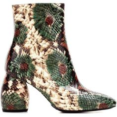 Printed leather ankle boots Dries Van Noten (16 210 UAH) ❤ liked on Polyvore featuring shoes, boots, ankle booties, leather booties, multi color boots, genuine leather boots, multicolor boots and leather bootie
