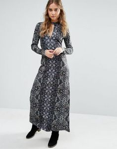 Free People Cabaret Long Sleeved Print Maxi Dress