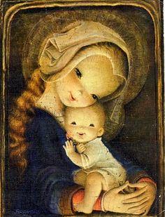 Mother and Child - Juan Ferrándiz Christmas Nativity, Christmas Art, Xmas, Vintage Christmas Cards, Vintage Cards, Image Jesus, First Communion Cards, Mama Mary, Mary And Jesus