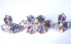 Vintage brooch earrings set. Molded glass. by JewelryOnVintageLane, $68.00