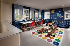 Loft repurposed to kids' playroom and study