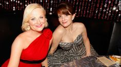 Poehler and Fey attend a Golden Globes after party in January 2010.