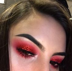 Image in makeup collection by ~luxurious Taste~ - Famous Last Words Red Eye Makeup, Rave Makeup, Makeup Eye Looks, Creative Makeup Looks, Red Eyeshadow, Glitter Makeup, Eyeshadow Looks, Pretty Makeup, Devil Makeup Halloween