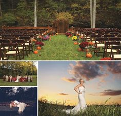 Autumn wedding ceremony decor - love it! See more from this Nashville wedding inspiration with a fall theme by @cjones8790! | The Pink Bride www.thepinkbride.com