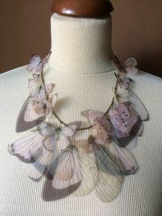 I Will Fly Away - Collana con Farfalle e Ali Rosa Chiaro e Antico in Organza di Seta - GRANDE by TheButterfliesShop on Etsy