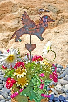 Dachshund Garden Stake / Metal Garden Art / Pet Memorial / Copper Art / Angel Decor / Indoor Outdoor / Dog Sculpture / Pet Lovers Gift