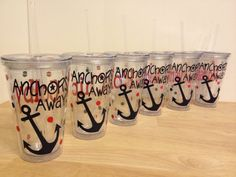 Nautical personalized double wall acrylic tumbler 16 oz w/ lid & straw, name, nautical Navy anchor, cruise, vacation