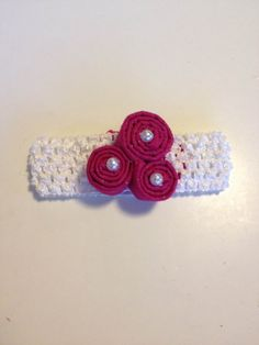 Infant Toddler Girls Pink Pearls Flower Crochet Headband Headpiece Hairbow Hair Accessories on Etsy, $7.00