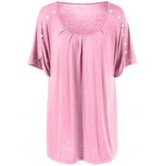Plus Size Button Detailed Wrinkle T-Shirt Plus Clothing, Trendy Plus Size Clothing, Plus Size Outfits, Plus Size T Shirts, Short Sleeve Dresses, Tunic Tops, Fashion Design, Clothes, Button