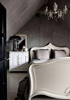 simple, dark, romantic bedroom. made for sleeping in.
