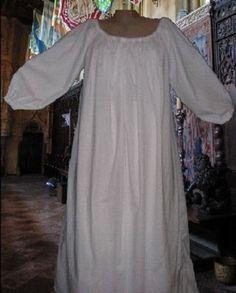 Renaissance-Chemise-Medieval-Undergown-SCA-Garb-White-Cotton-Muslin-LXL