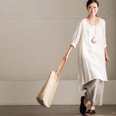 Art Maxi Size Linen Long Sleeve Shirt Dress Women Clothes C560A