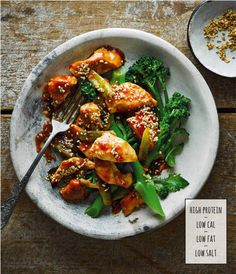 Honey sesame chicken with long-stemmed broccoli (Olive Magazine), Mar 2020 Honey Sesame Chicken, Broccoli, Fries, Recipies, Magazine, Cooking, Food, Recipes, Kitchen