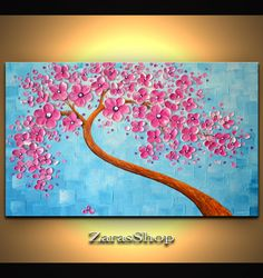 Pink blossom tree painting soft blue acrylic abstract landscape, girls room wall decor by ZarasShop