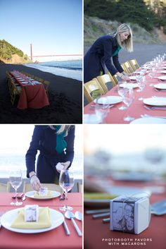Oh Happy Day! Pop up dinner party at the Golden Gate Bridge... I love the photo booth box favors!