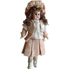 "All Original 13.5"" Walking/Turning Head French Market Bebe Circa 1901 from au-nain-bleu on Ruby Lane"