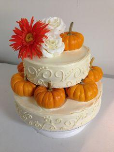 Fall Pumpkin 2 tier wedding cake