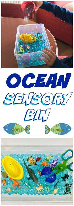 OCEAN SENSORY BIN - with Aqua Water Beads - Includes Bin - Helps with Fine Motors Skills #ad