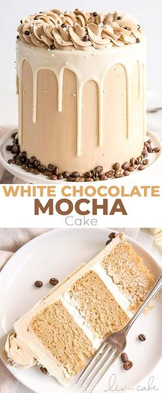 This white chocolate mocha cake pairs tender white chocolate espresso cake layers with a whipped white chocolate ganache and silky espresso buttercream livforcake com best moist chocolate cake Nutella Chocolate Cake, White Chocolate Ganache, Chocolate Recipes, Homemade Chocolate, Hot Chocolate, Decadent Chocolate, White Chocolate Desserts, Chocolate Covered, Sweets