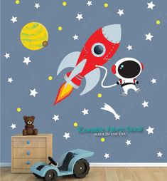 Space Wall Decal with Astronaut, Planets, Rocket Wall Decal  (Rocket Mission)