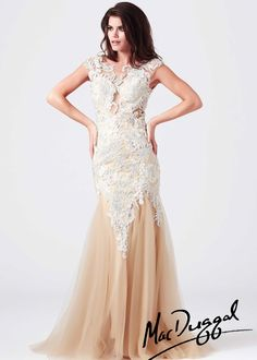 Mac Duggal 61567M - Nude/Silver Lace Beaded Prom Dresses Online #thepromdresses