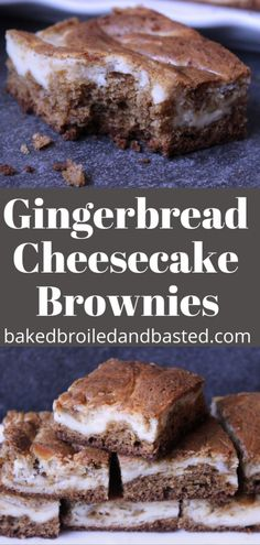These Gingerbread Cheesecake Brownies taste of the holidays. They are super easy to throw together. Moist and tender with a yummy cheesecake swirled into them. Perfect for potlucks and holiday parties. Brownie Recipes, Cookie Recipes, Dessert Recipes, Bar Recipes, Dessert Ideas, Yummy Recipes, Recipies, No Bake Brownies, Cheesecake Brownies