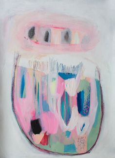 "ABSTRACT print of painting, giclee print, acrylic painting, pink, white, modern painting ""Bell on a Shelf"""