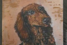 Купить Фотография на память - коричневый, Батик, батик картина, животное, собака, такса, подарок, шелк