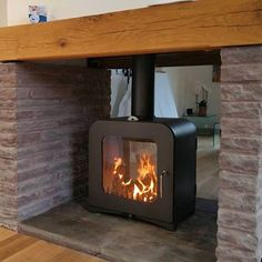Two Sided Fireplace Insert 2 Double Electric Fireplaces Wood Stove - Wood Burning Fireplace Inserts Stove Fireplace, Wood Fireplace, Fireplace Ideas, Inglenook Fireplace, Foyers, Double Sided Log Burner, Contemporary Wood Burning Stoves, Fireplace Dimensions, Wood Burning Fireplace Inserts