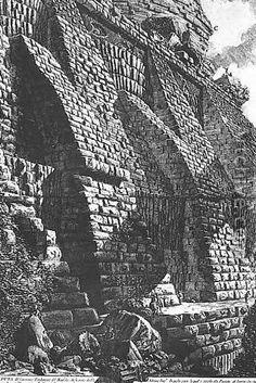 Tavola delle Antichità Romane: Contrafforte della Mole Adriana; Giovanni Battista Piranesi; acquaforte.