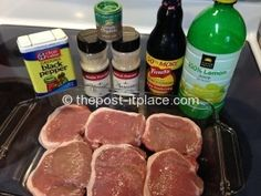oven-broiled pork chop ingredients- it's what's for dinner Thm Recipes, Entree Recipes, Pork Chop Recipes, Real Food Recipes, Dinner Recipes, Cooking Recipes, Yummy Food, Tasty