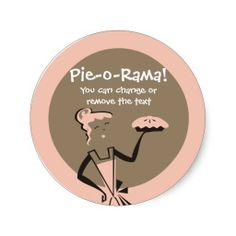 Retro pie girl baking from my kitchen bakery st... round stickers