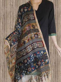 Buy Silken Missing weaves Kalamkari Dupatta