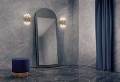 The GREYSTONE tile with finer veins ensures a more restful look while maintaining subtle elegance. Geahchan Home. Since 1928 Tel: 01480676 Beirut Nightlife, Luxury Interior, Interior Design, Marble Tiles, Tiling, Tile Trim, Bathroom Goals, Shades Of Grey, Oversized Mirror