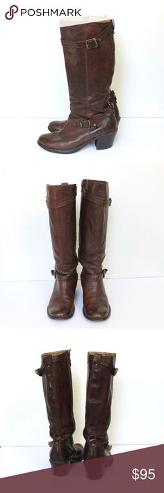 """Frye Tall Low Heel Leather Boots with Buckles Frye tall cognac leather boots have zip closures, stacked block heels, adjustable buckles, leather interior, and leather outer sole. The shaft hits just below the knee. Normal wear on the outer sole and leather. The heel caps are excellent. No damage, however, the interior has black marks (see the last photo)  Size 8  //  Fits true to size  MEASUREMENTS Heel 2.5"""" Shaft 14"""" Opening 15"""" Frye Shoes Heeled Boots"""
