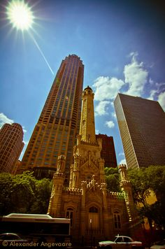 Chicago Water Tower. Who knew that thing is an historic water tower? When i took the first snap or two I was thinking it was a church or a temple of some sort!  ~ Chicago, Illinois