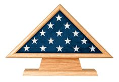 Oak 5 X 9.5 Flag Memorial Case on Pedestal with Engraved Plate