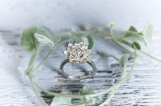 Lotus flower engagement ring  proposal ring  by TheManerovs