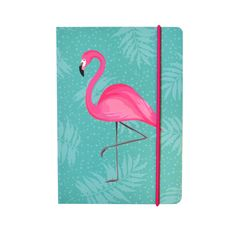 A colourful and quirky notebook featuring a tropical flamingo design with gold foil page edges and pink elastic to keep it shut.The notebook measures 105 x 148mm.Its compact size makes it perfect for jotting down your thoughts on the go.