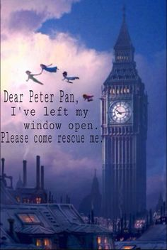 You Can Fly Disney Peter Pan Big Ben London Neverland Artwork Giclée on Canvas