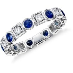 Blue Nile Deco Sapphire and Diamond Eternity Ring ($2,500) ❤ liked on Polyvore featuring jewelry, rings, eternity ring, diamond rings, diamond eternity band ring, round cut diamond rings and 18k diamond ring