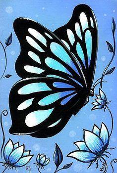 Art: Butterfly & Flowers #11 by Artist Elaina Wagner
