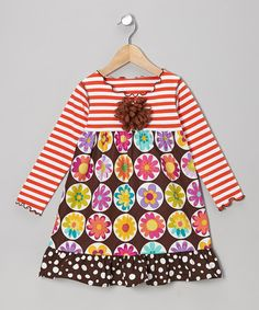 Take a look at this Brown Daisy Ruffle Lettuce Swing Dress - Toddler & Girls by SILLY MILLY on #zulily today!