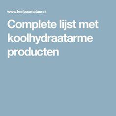 Complete lijst met koolhydraatarme producten