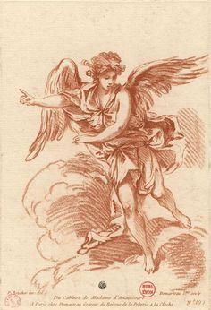 Angel walking on clouds by Gilles Demarteau, 18th century. Bibliothèque municipale de Lyon, Public Domain