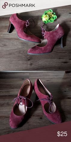 Faux Suede Heels Burgandy and beautiful! Worn only once! Lands' End Shoes Heels