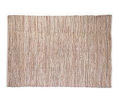 Tapete de cuero, yute y algodón, natural - 60x90 cm