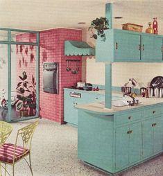aqua pink retro kitchen | aqua and pink kitchen from 1960 | ~Vintage~ #retrohomedecor