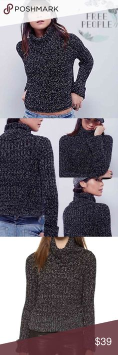 Free People Twisted Turtleneck Pullover Sweater A cozy Free People turtleneck sweater with a cropped profile and speckled color. Ribbed edges and long sleeves. Black combo (black/white) Fabric: Knit. 83% cotton/10% polyester/7% acrylic. Size M New with tag...$108.00 Free People Sweaters Cowl & Turtlenecks